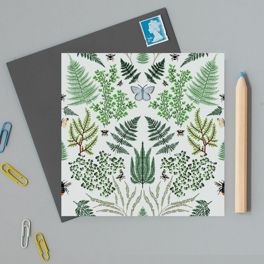 Greetings card with ferns illustration