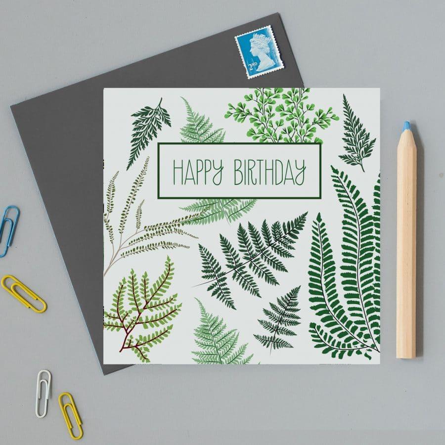 Illustrated ferns birthday card with happy birthday text