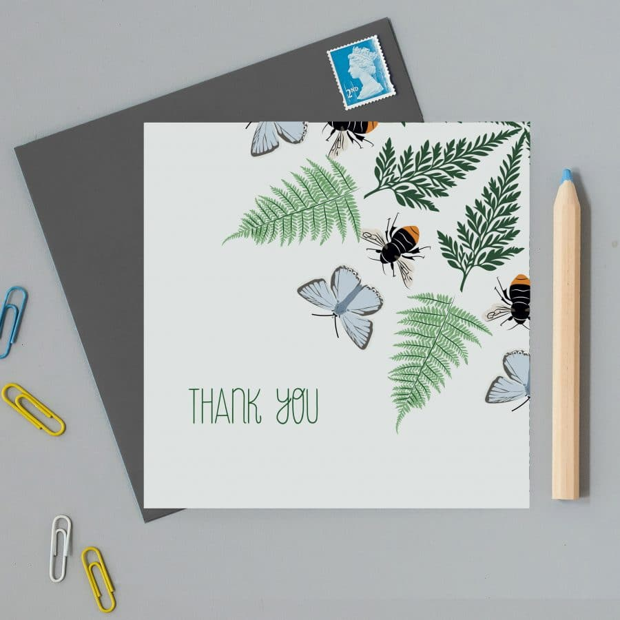 Illustrated Thank You Card with Ferns and Bees