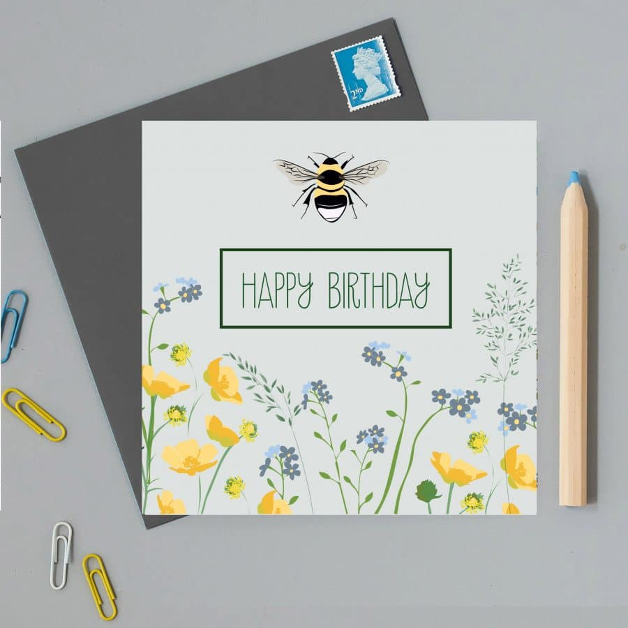 Illustrated birthday car with bee and flowers