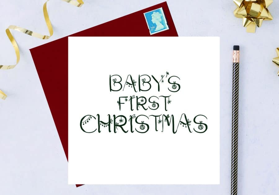 Christmas Card Luxury Designer Personalised Message Sustainable Environmentally Friendly FSC Paper Plastic Free - babys first christmas