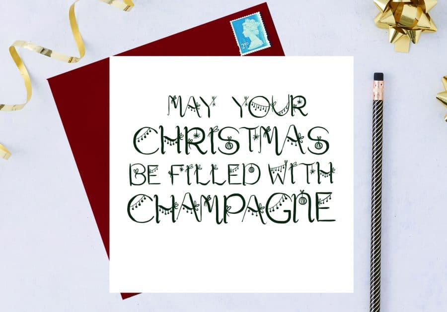 Christmas Card Luxury Designer Personalised Message Sustainable Environmentally Friendly FSC Paper Plastic Free - may your christmas be filled with champagne