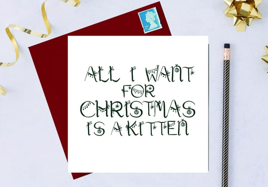Christmas Card Luxury Designer Personalised Message Sustainable Environmentally Friendly FSC Paper Plastic Free - All I want for Christmas is a kitten