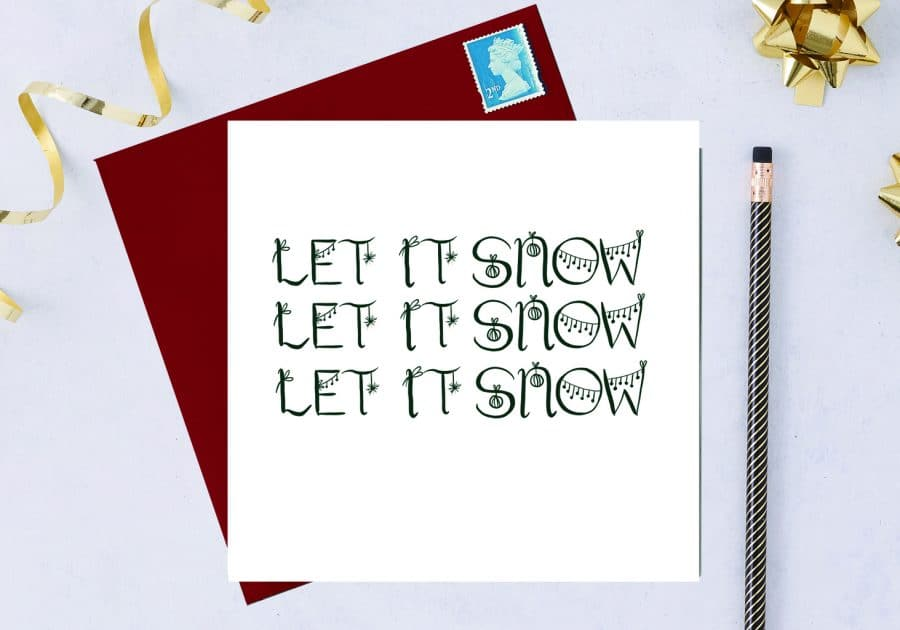 Christmas Card Luxury Designer Personalised Message Sustainable Environmentally Friendly FSC Paper Plastic Free - Let it snow, let it snow, let it snow