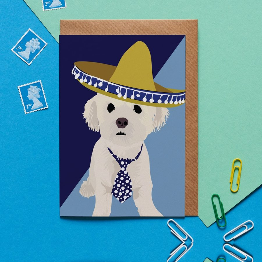 Greetings Card Luxury Designer Personalised Message Sustainable Environmentally Friendly FSC Paper Plastic Free - bichon frise