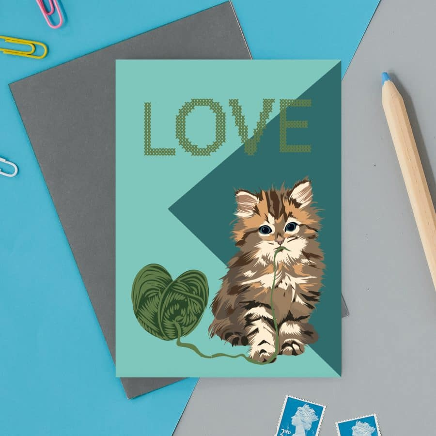 kitten love valentines greeting card cat card eco friendly, plastic free, valentines card, printed in the UK, lorna syson, british designer, british card designer, cat illustration