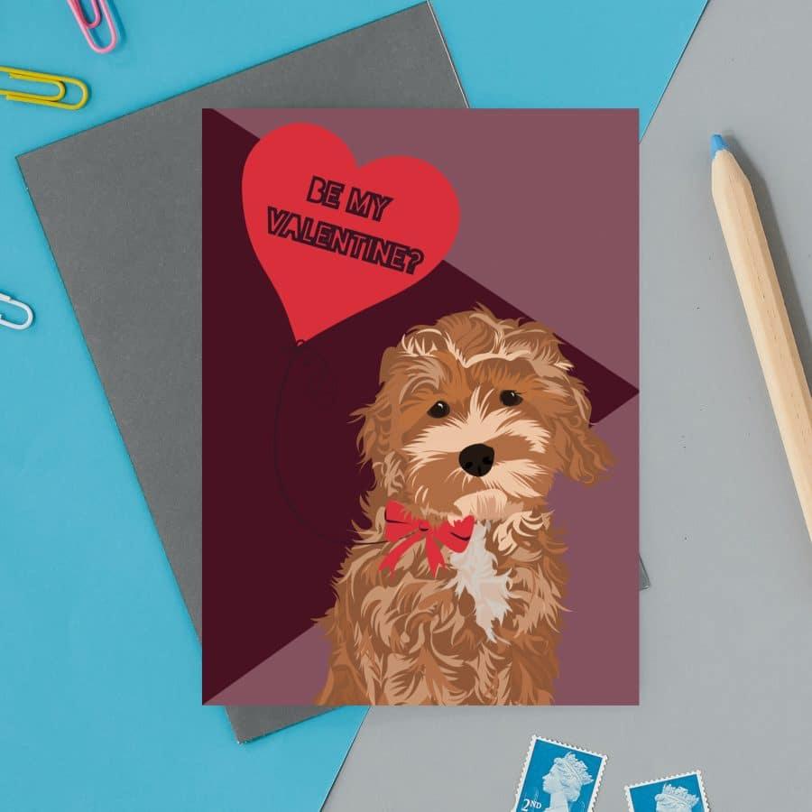 love valentines greeting card cat card eco friendly, plastic free, valentines card, printed in the UK, lorna syson, british designer, british card designer cockapoo love heart be my valentine