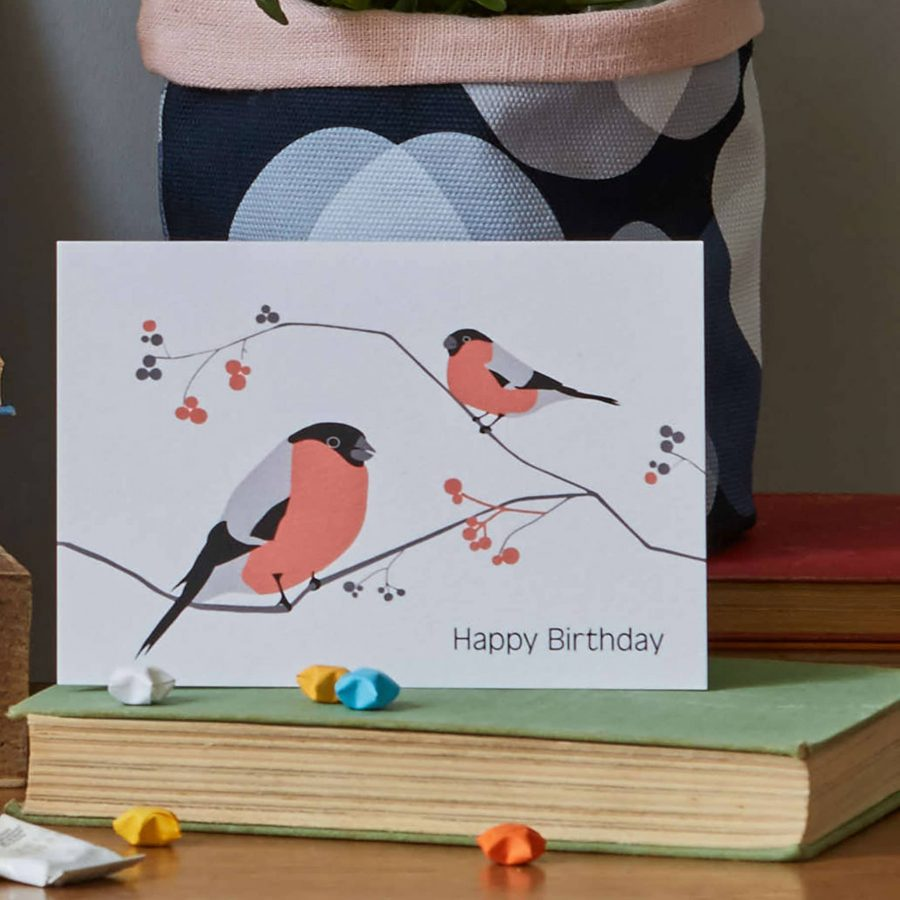 Lorna Syson Bullfinch birthday card