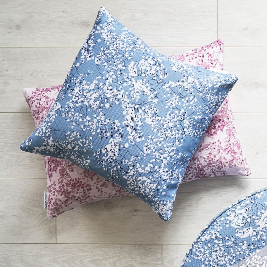blue gypsophila cushion - blue floral design - Lorna Syson