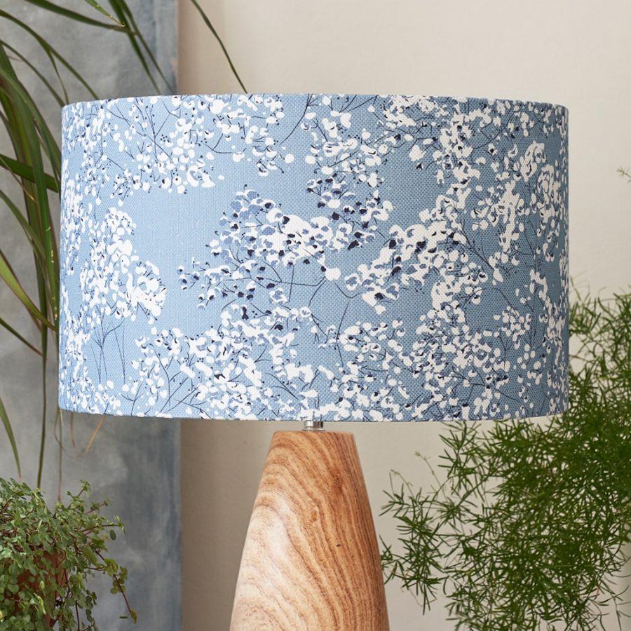 blue floral lampshade - blue gypsophila - lorna syson homeware