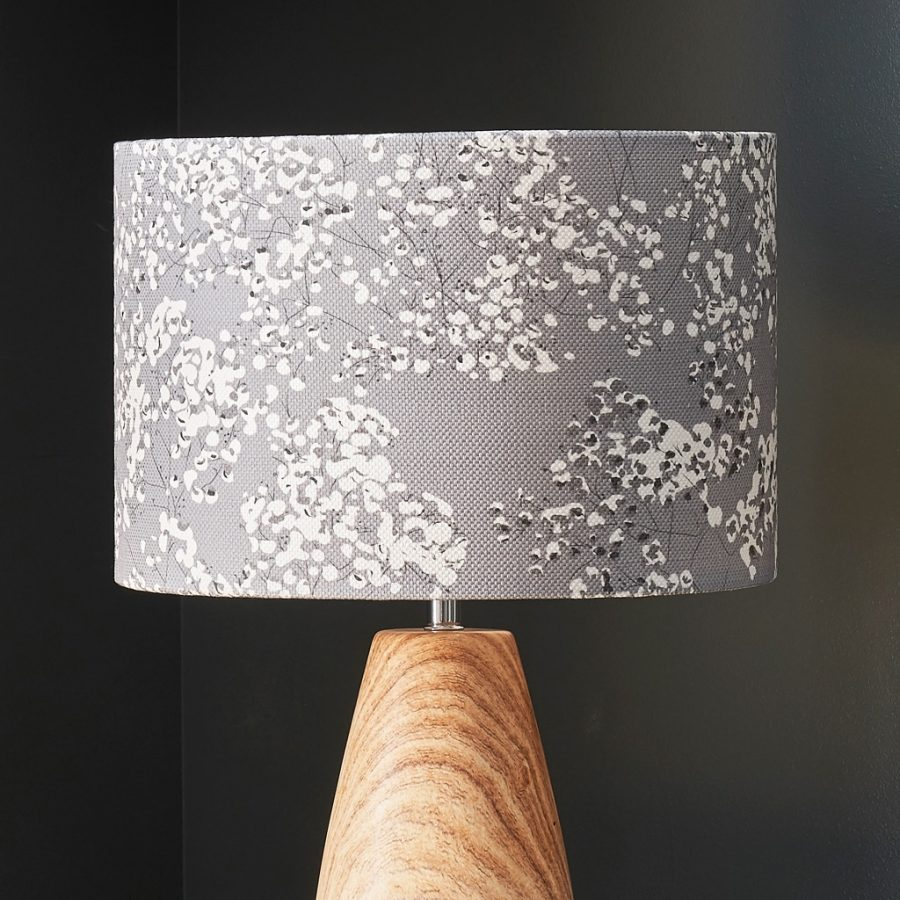 grey floral lampshade - grey gypsophila - lorna syson homeware