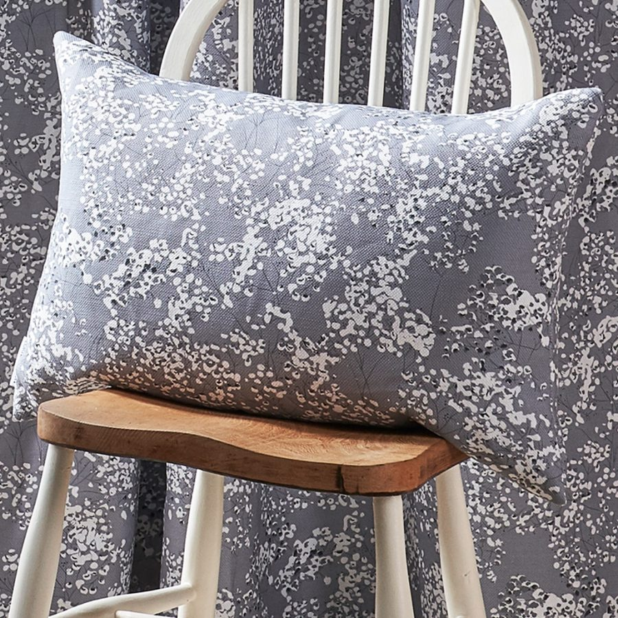grey gypsophila cushion - grey floral design - Lorna Syson