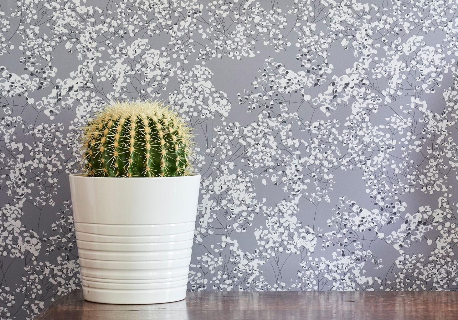 Grey Arla Wallpaper - grey gypsophila