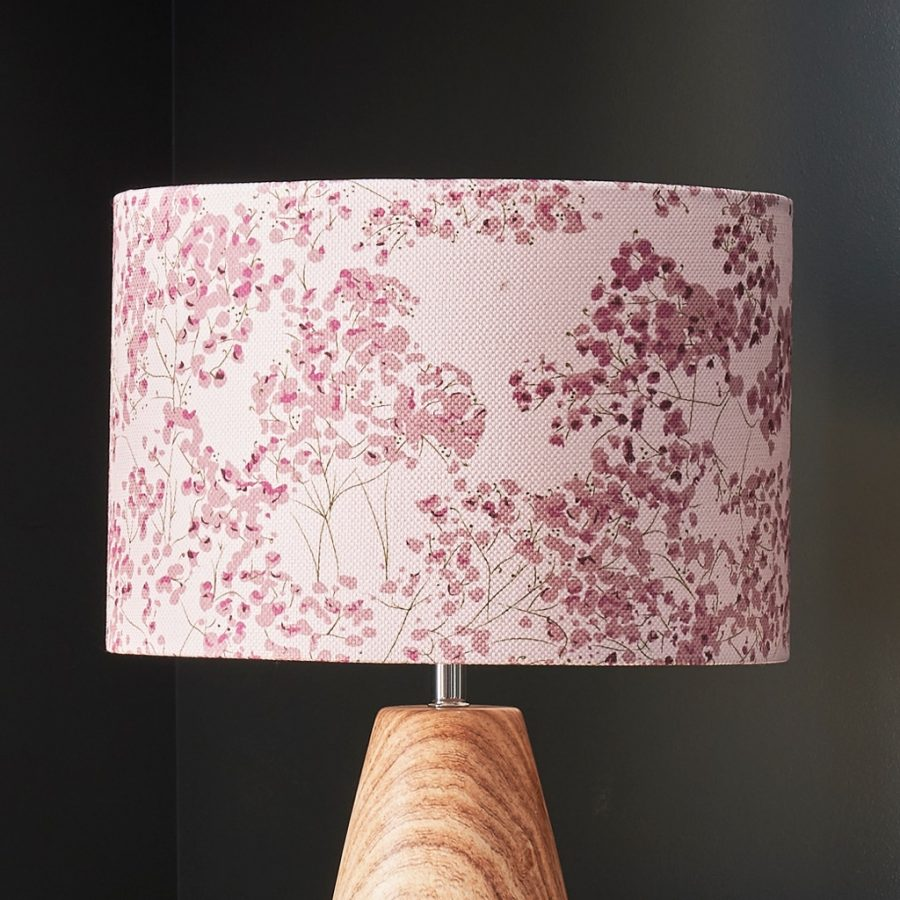 pink floral lampshade - pink gypsophila - lorna syson homeware