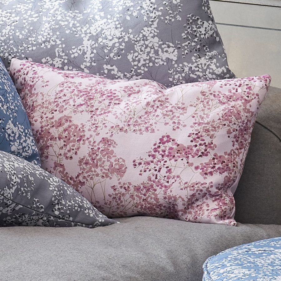 pink gypsophila cushion - Pink floral design - Lorna Syson