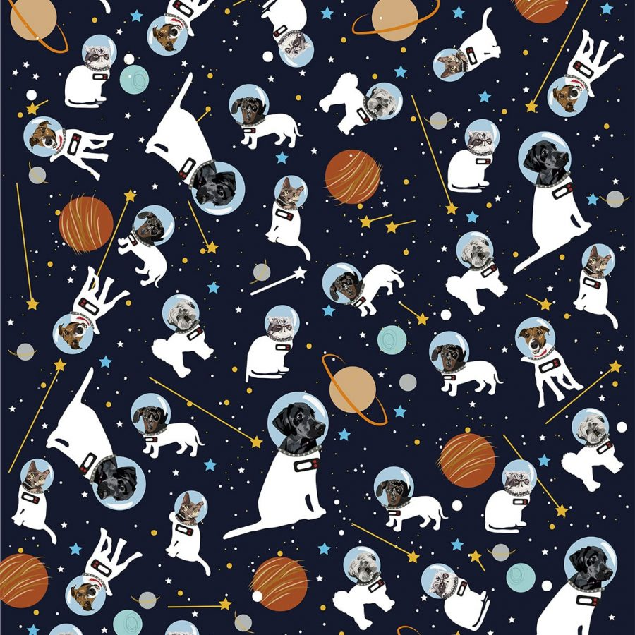 Astronaut Pet Wrapping Paper - Illustration - Lorna Syson