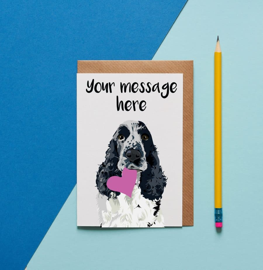 Personalised cocker spaniel card ethical sustainable environmentally friendly