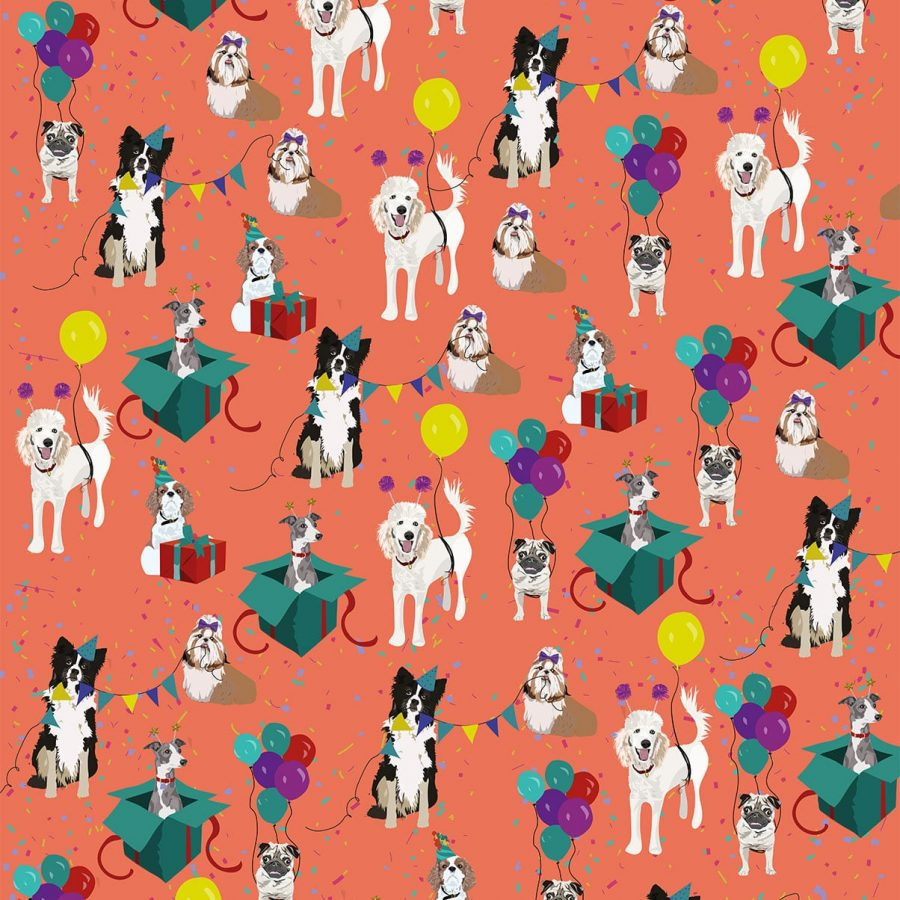 Birthday Dog Wrapping Paper - Gift Wrap designed by Lorna Syson