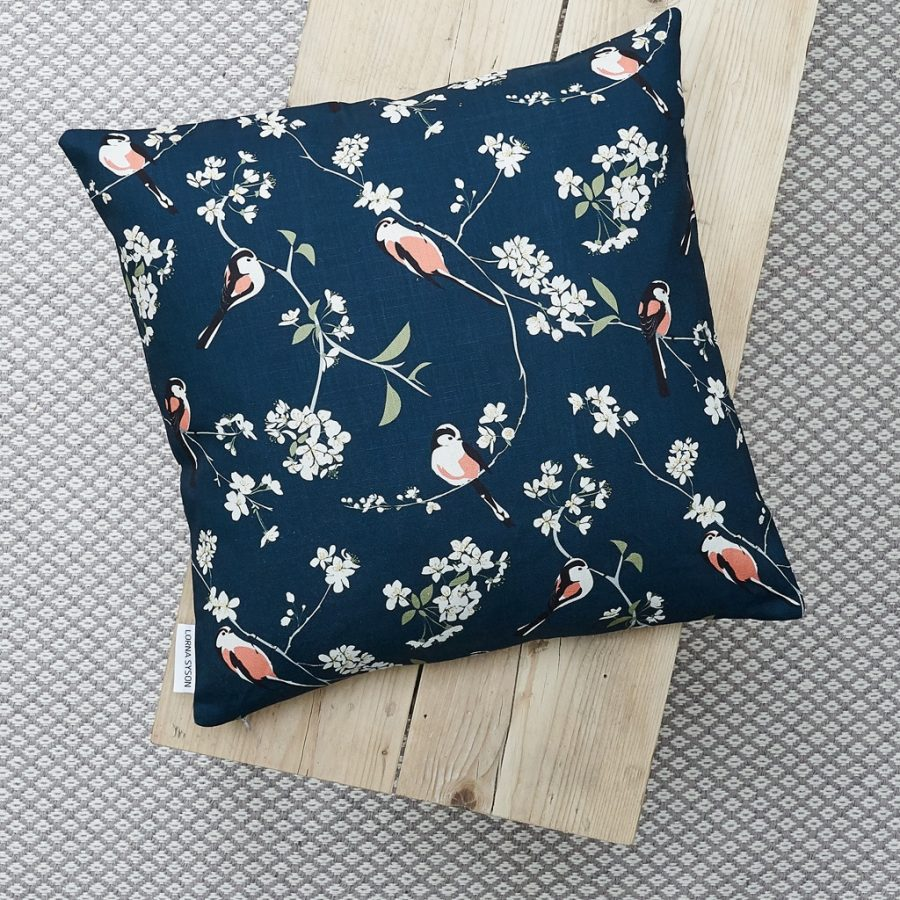 cushion, bird cushion, floral cushion, luxury cushion, designer cushion, uk designer, RSPB cushion, designer home, designer interiors, bird design, RSPB blossom and bird navy cushion designed by Lorna Syson