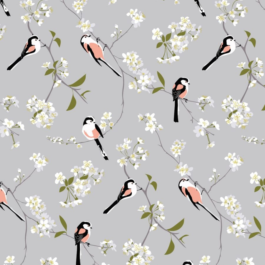 wallpaper, wallpaper deisgn, british wallpaper designer, designer home, hummingbird wallpaper teal wallpaper RSPB Blossom and Bird grey wallpaper designed by Lorna Syson