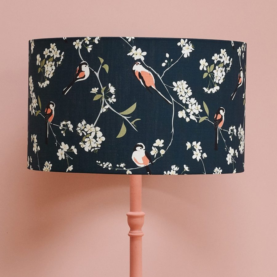 lampshade, designer lampshade, british lampshade, lighting, drum lampshade, lamp, hummingbird lampshade, navy lampshadeRSPB blossom and bird lampshade with long tailed tit design on british cherry blossom