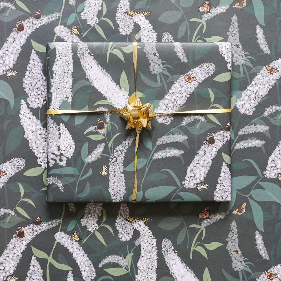 Floral buddleia birthday wrapping paper