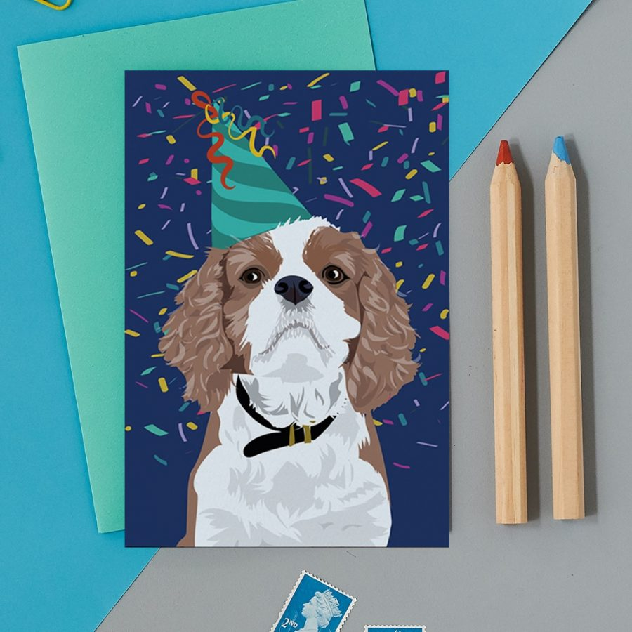 Greetings Card Luxury Designer Personalised Message Sustainable Environmentally Friendly FSC Paper Plastic Free - cavalier spaniel