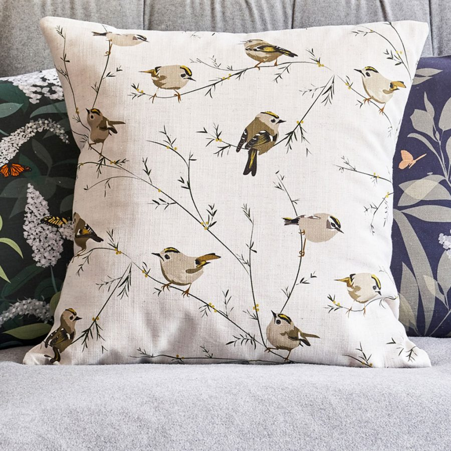 cushion, bird cushion, floral cushion, luxury cushion, designer cushion, uk designer, RSPB cushion, designer home, designer interiors, bird design, goldcrest cushion - goldcrest design - Lorna Syson