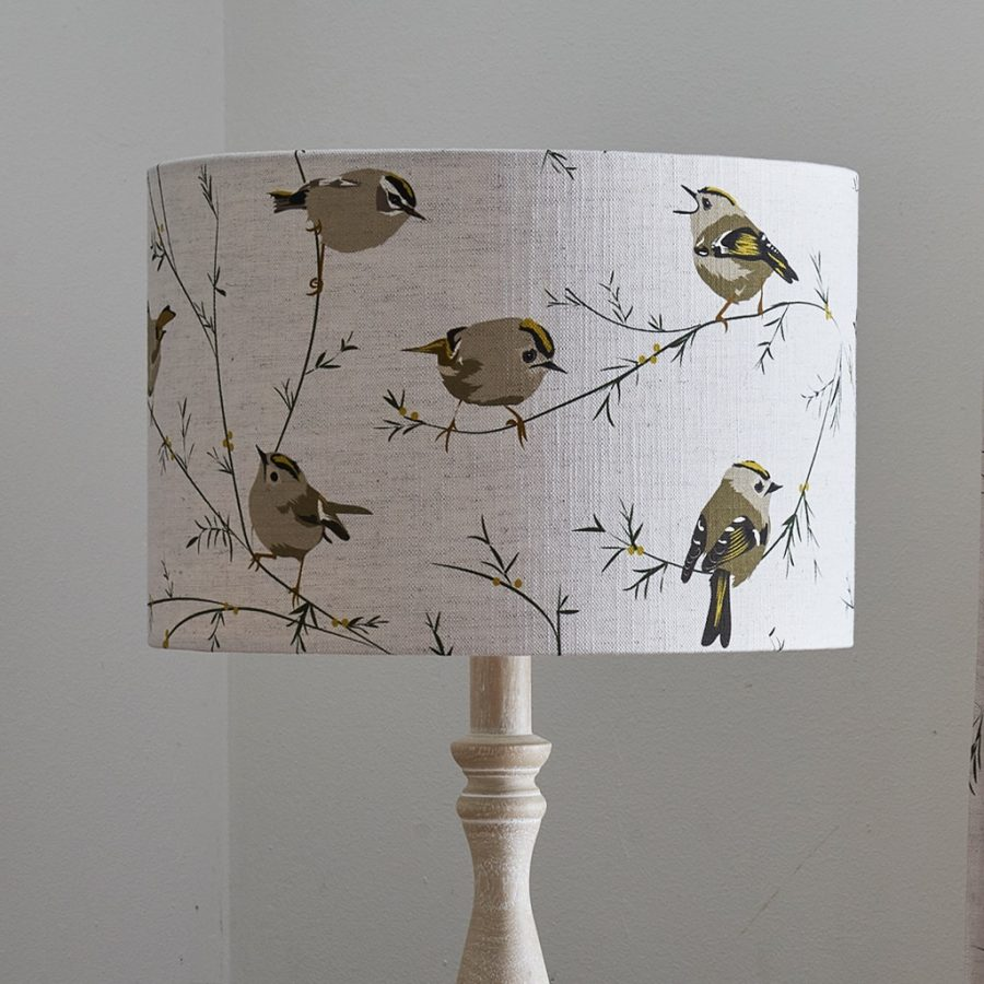 bird lampshade - goldcrest bird design - lorna syson homeware