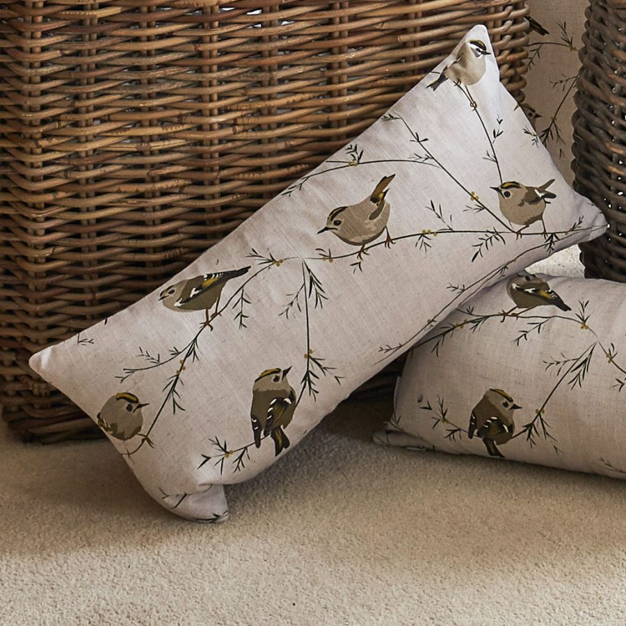 goldcrest cushion - bird design - Lorna Syson