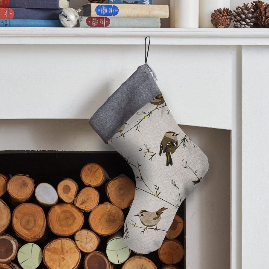 bird christmas stocking, bird stocking, christmas decoration Goldcrest Christmas Stocking - Festive Gifting - Lorna Syson