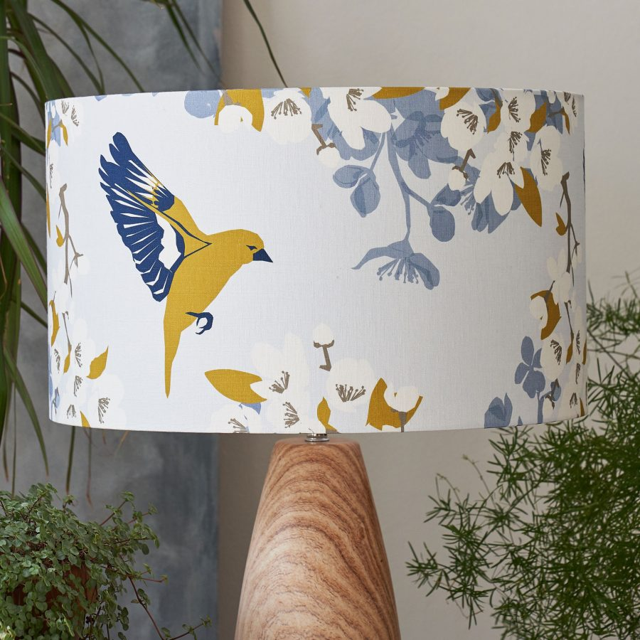 Greenfinch lampshade - bird and apple blossom design - lorna syson homeware