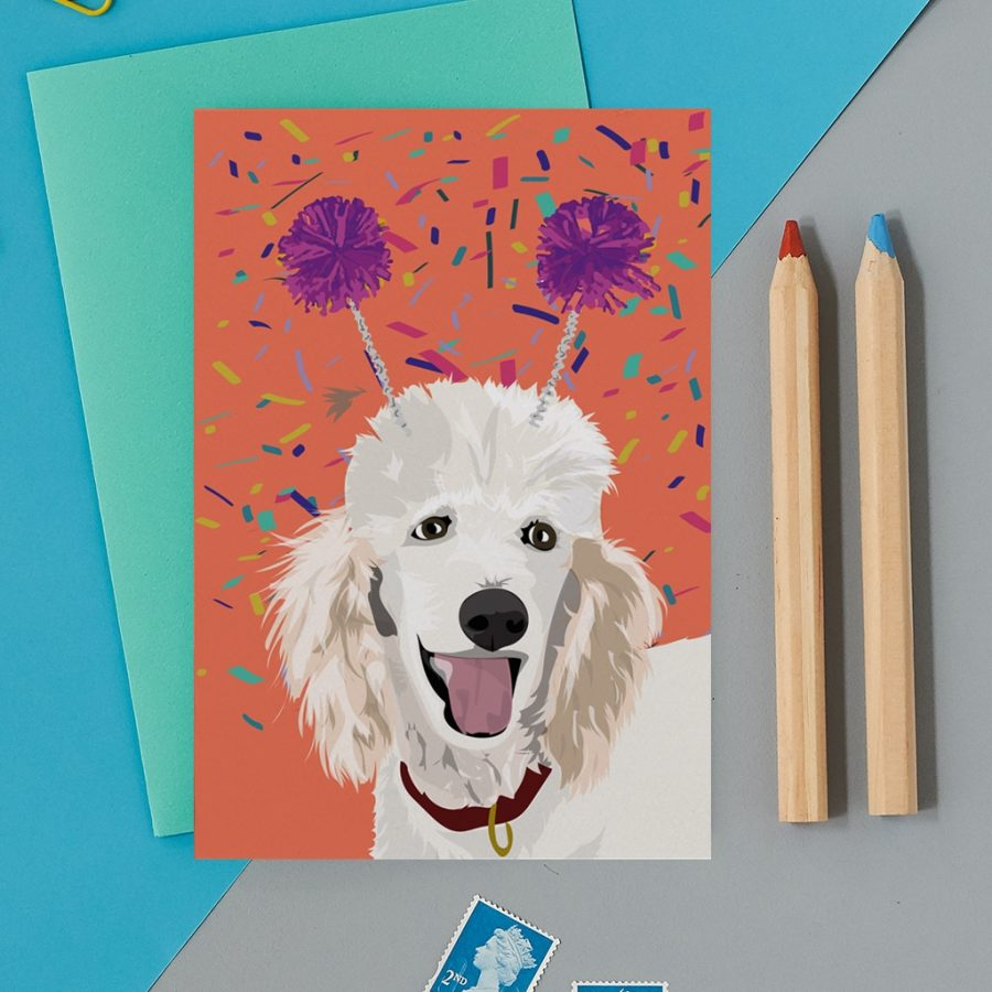 Greetings Card Luxury Designer Personalised Message Sustainable Environmentally Friendly FSC Paper Plastic Free - poodle
