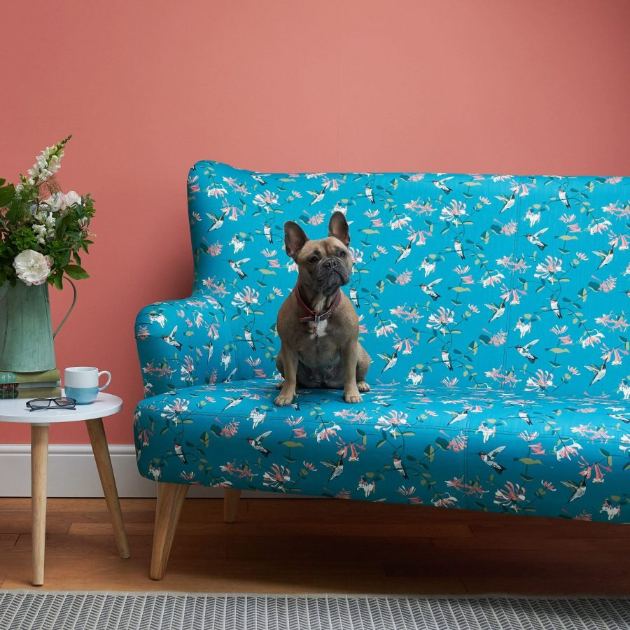 Hummingbird teal sofa bulldog RSPB fabric designed by Lorna Syson