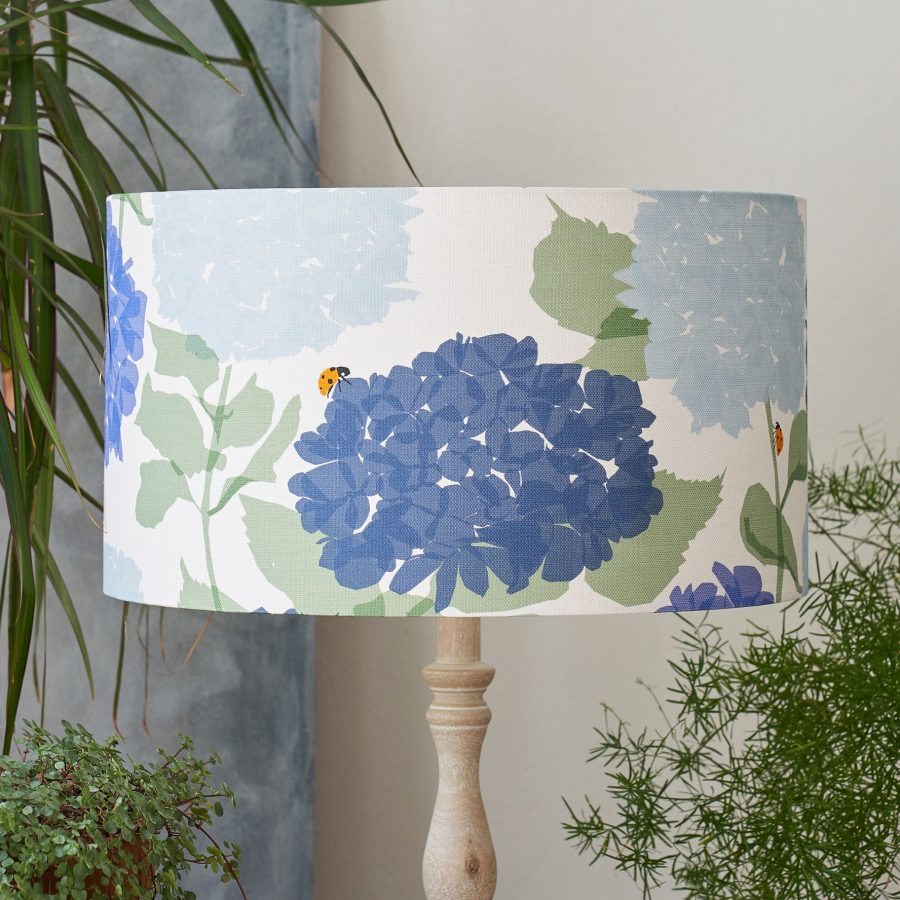 floral lampshade - hydrangea and ladybird design - blue - lorna syson homeware
