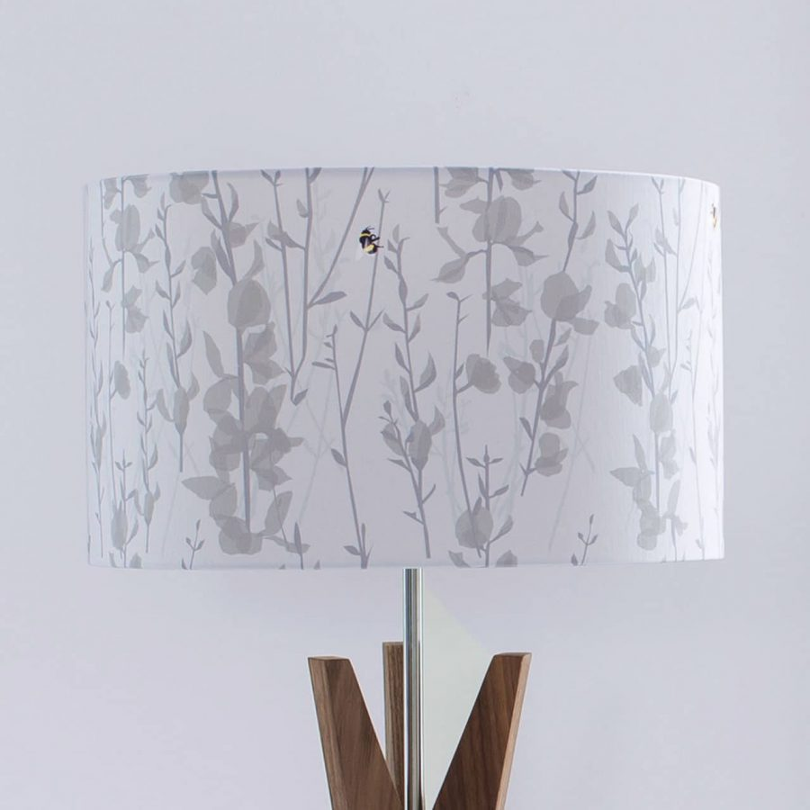 Bee lampshade - broom and bee design - grey and yellow - lorna syson homeware