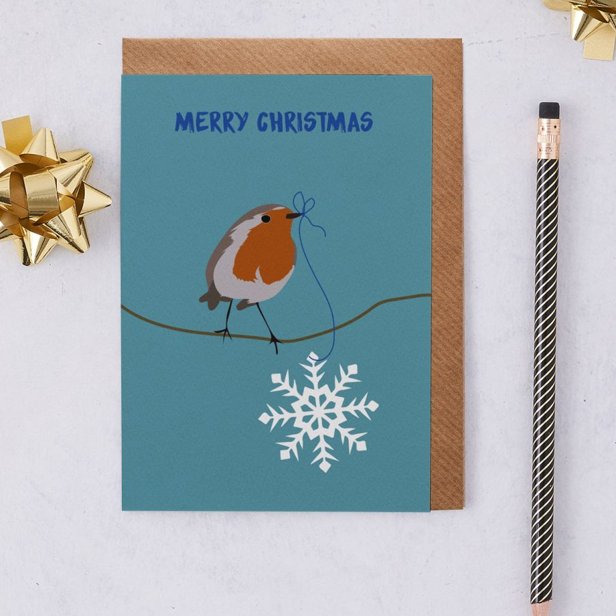 Christmas Card Luxury Designer Personalised Message Sustainable Environmentally Friendly FSC Paper Plastic Free - Merry Christmas Robin - christmas greetings card - Robin Red Breast - British - stationery