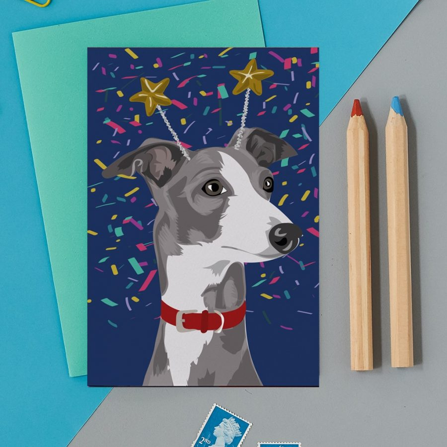 Greetings Card Luxury Designer Personalised Message Sustainable Environmentally Friendly FSC Paper Plastic Free - greyhound