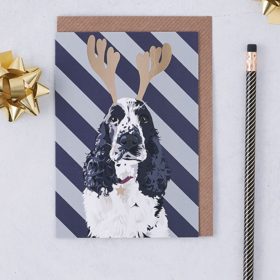 Christmas Card Luxury Designer Personalised Message Sustainable Environmentally Friendly FSC Paper Plastic Free - Christmas Nancy - christmas greetings card - Dog - cocker spaniel - stationery