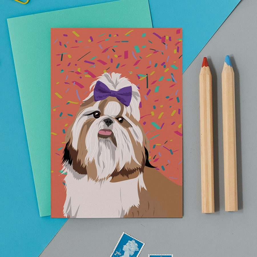 Greetings Card Luxury Designer Personalised Message Sustainable Environmentally Friendly FSC Paper Plastic Free - Shih Tzu dog card