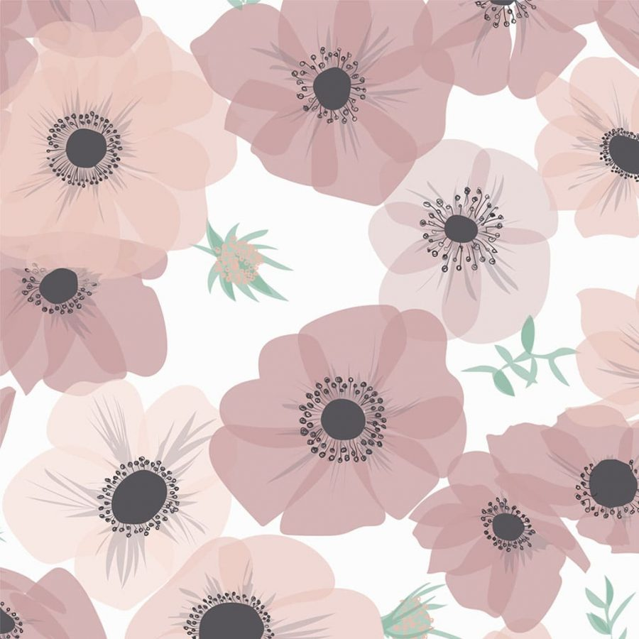 Pink Posy Wallpaper - pink poppies and anemones - pink, grey and white - lorna syson homeware