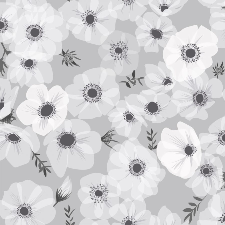 Posy Stone Wallpaper - Poppies and Anemones - FREE UK DELIVERY