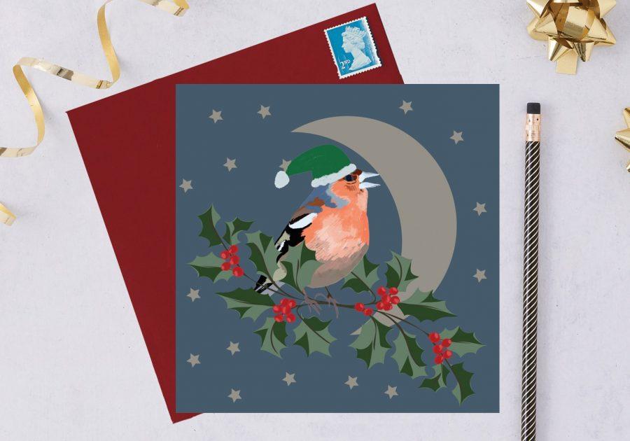 charity christmas card, blue tit card, christmas card, RSPB card chaffinch