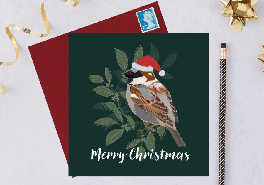 sparrow charity christmas card, blue tit card, christmas card, RSPB card