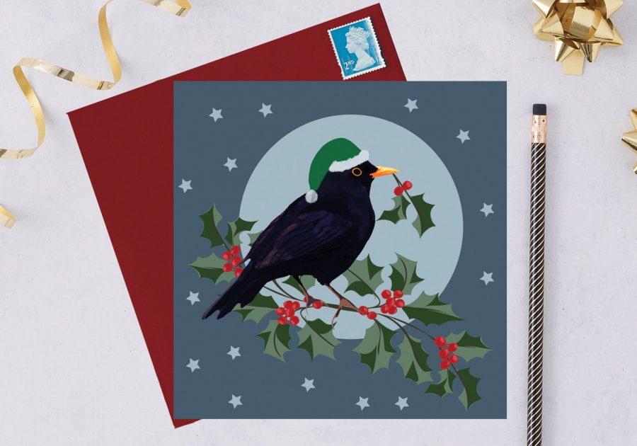 charity christmas card, blue tit card, christmas card, RSPB card black bird