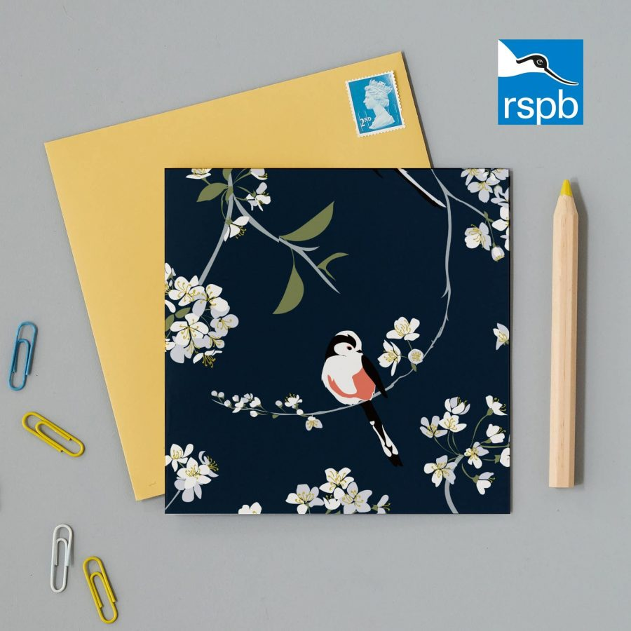 RSPB blossom and bird navy greeting card designed by Lorna Syson