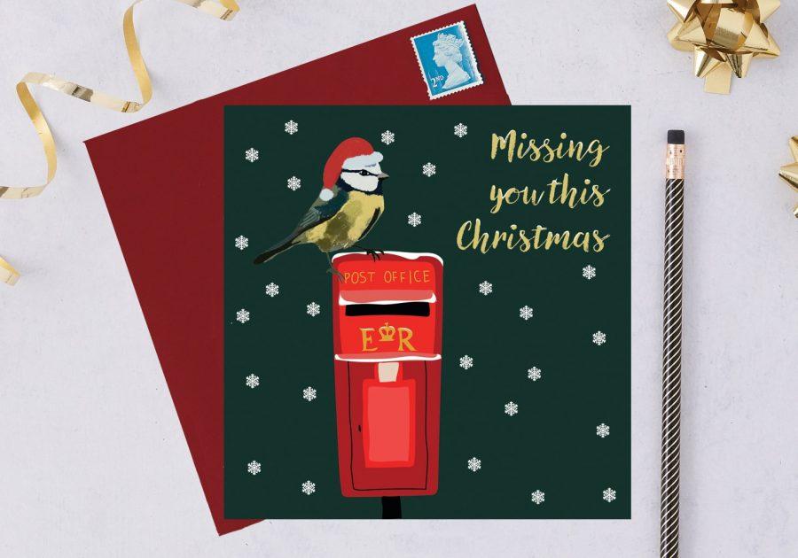 charity christmas card, blue tit card, christmas card, RSPB card