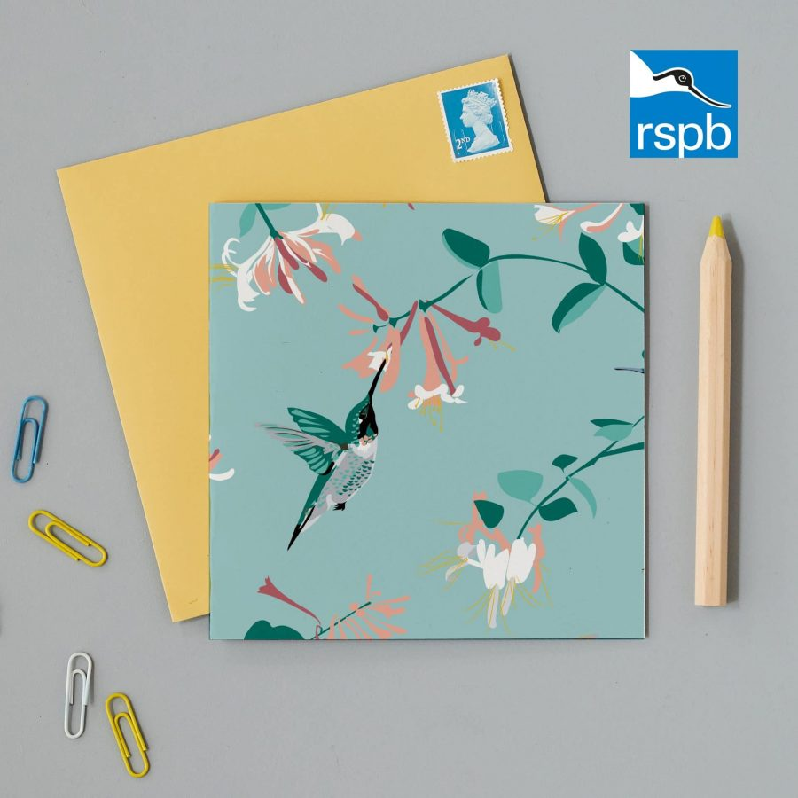 Greetings Card Luxury Designer Personalised Message Sustainable Environmentally Friendly FSC Paper Plastic Free RSPB bird RSPB greeting card featuring Hummingbird on a mint background