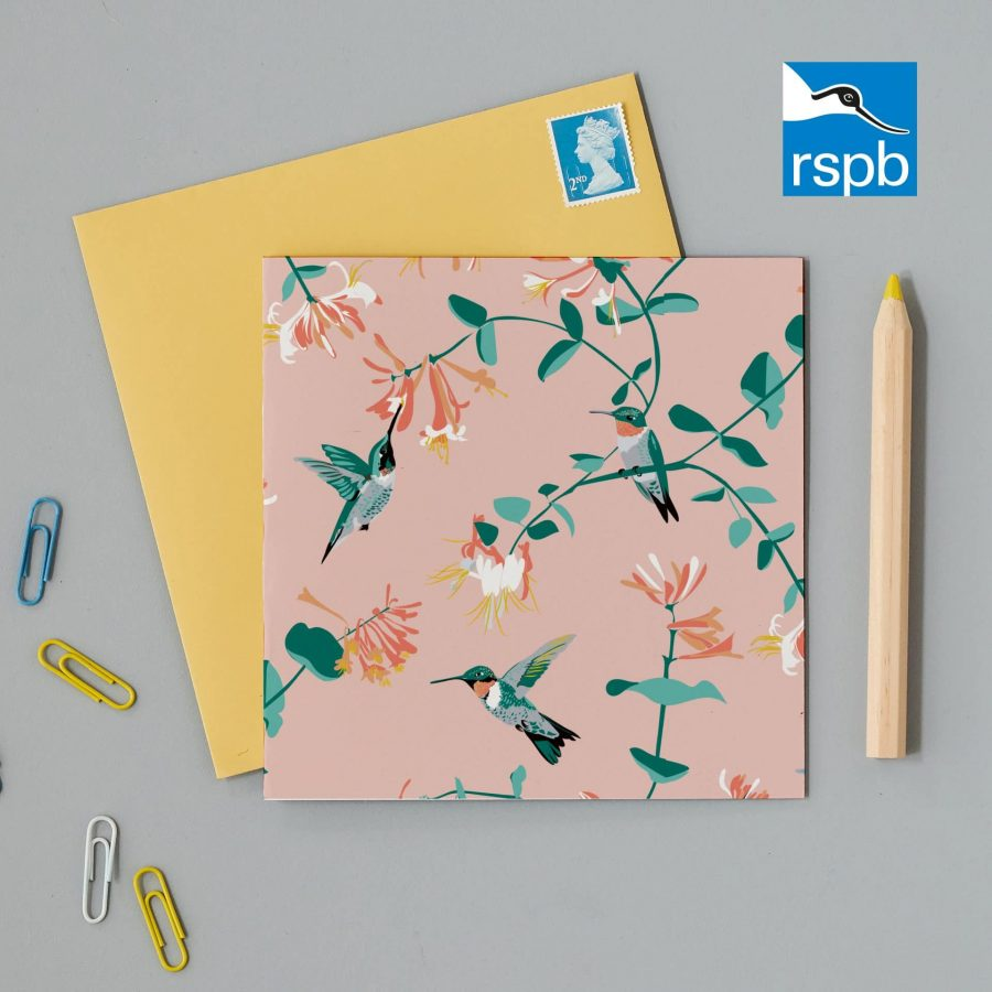 Greetings Card Luxury Designer Personalised Message Sustainable Environmentally Friendly FSC Paper Plastic Free RSPB bird RSPB hummingbird pink greeting card designed by Lorna Syson