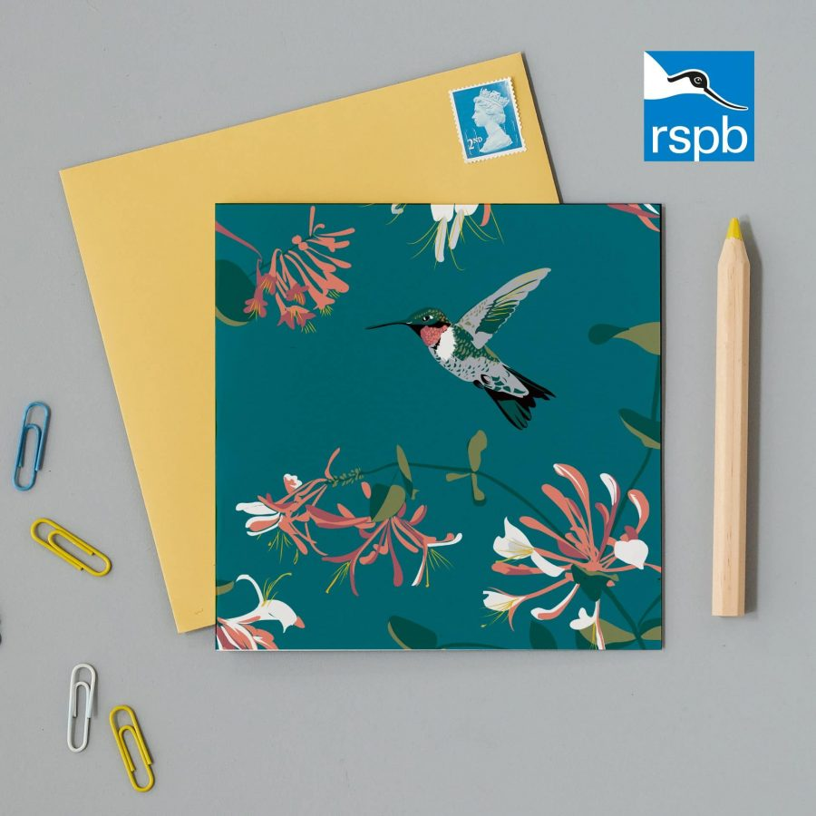 RSPB greeting card featuring Hummingbird on a teal background